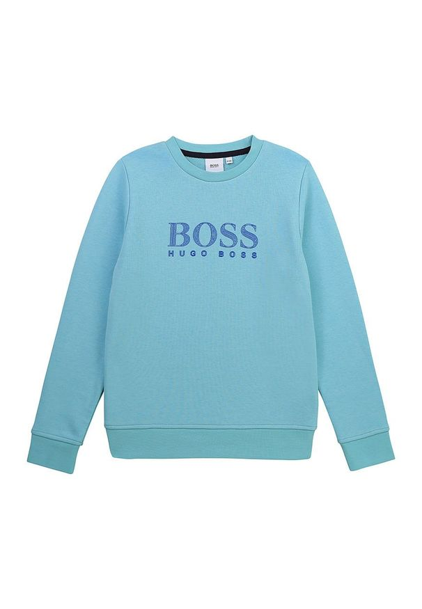 Niebieska bluza BOSS na co dzień, casualowa, z nadrukiem