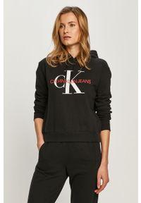 Czarna bluza Calvin Klein Jeans z kapturem, casualowa, na co dzień, z długim rękawem