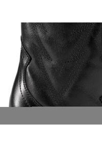 Czarne botki Bronx z cholewką, na średnim obcasie, na obcasie #6