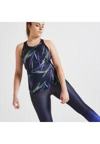 DOMYOS - Top fitness. Kolor: niebieski. Materiał: elastan, poliester, materiał. Długość rękawa: na ramiączkach. Wzór: nadruk. Sport: fitness