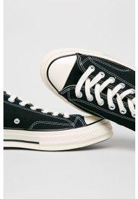 Czarne niskie trampki Converse z cholewką, na sznurówki, z okrągłym noskiem