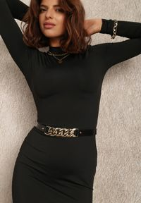 Renee - Czarna Sukienka Hekyle. Okazja: na co dzień. Kolor: czarny. Materiał: dzianina, prążkowany. Długość rękawa: długi rękaw. Typ sukienki: proste. Styl: casual. Długość: mini