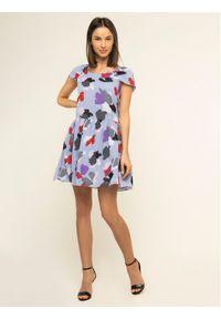 Fioletowa sukienka Emporio Armani prosta, casualowa, na co dzień