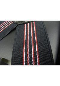 Modini - Długie czarne szelki w czerwone i białe paski XL39. Kolor: wielokolorowy, biały, czarny, czerwony. Materiał: skóra, guma. Wzór: paski