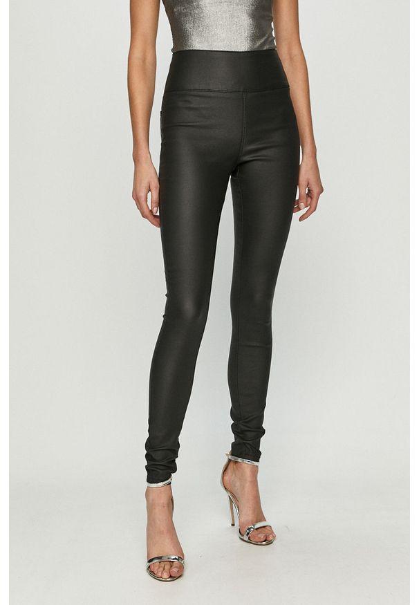 Czarne spodnie materiałowe Pieces z podwyższonym stanem