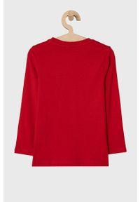 Czerwona koszulka z długim rękawem OVS casualowa, z nadrukiem
