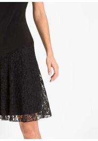 Sukienka z dżerseju z koronką bonprix czarny. Okazja: na imprezę. Kolor: czarny. Materiał: jersey, koronka. Wzór: koronka. Styl: elegancki #3
