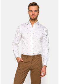 Lancerto - Koszula Biała z Nadrukiem Luciana 2. Kolor: biały. Materiał: jeans, bawełna, wełna, tkanina, włókno. Wzór: nadruk