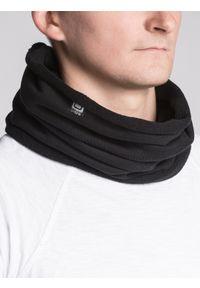 Ombre Clothing - Komin męski A063 - czarny - uniwersalny. Kolor: czarny. Materiał: bawełna, poliester