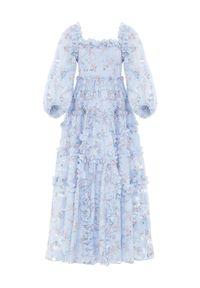 NEEDLE & THREAD - Letnia sukienka za kostki. Typ kołnierza: dekolt kwadratowy. Kolor: niebieski. Materiał: żakard, materiał. Wzór: kwiaty. Sezon: lato