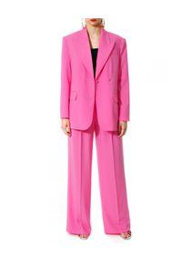 AGGI - Różowa marynarka oversizeowa Ramona. Kolor: fioletowy, różowy, wielokolorowy. Materiał: tkanina