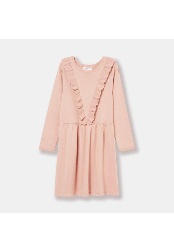 Sinsay - Sukienka z falbanką - Różowy. Kolor: różowy