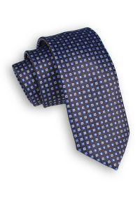 Alties - Granatowy Klasyczny Męski Krawat -ALTIES- 6cm, w Drobny Wzór Geometryczny, Małe Kwadraciki. Kolor: niebieski. Materiał: tkanina. Wzór: geometria. Styl: klasyczny