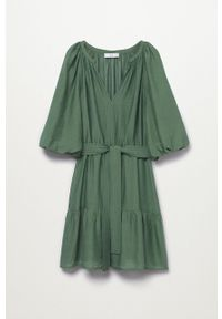 mango - Mango - Sukienka Feroe. Kolor: zielony. Materiał: włókno. Typ sukienki: rozkloszowane