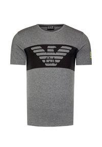 Szary t-shirt EA7 Emporio Armani z okrągłym kołnierzem, melanż