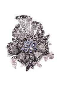 Braccatta - JANE BLUE Srebrna broszka markazyty i cyrkonie kotylion. Materiał: srebrne. Kolor: srebrny. Kamień szlachetny: markazyt, cyrkonia
