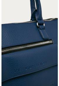 Niebieska shopperka Desigual gładkie, na ramię, skórzana