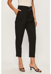 Czarne spodnie materiałowe Calvin Klein z podwyższonym stanem, casualowe, na co dzień