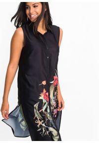 Długa bluzka bonprix czarny z nadrukiem. Kolor: czarny. Długość: długie. Wzór: nadruk. Styl: elegancki