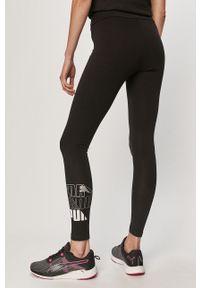 Czarne legginsy Puma z podwyższonym stanem, z nadrukiem