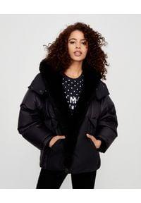 YVES SALOMON PARIS - Czarna kurtka z kapturem. Typ kołnierza: kaptur. Kolor: czarny. Materiał: materiał, puch. Długość rękawa: długi rękaw. Długość: długie. Sezon: zima