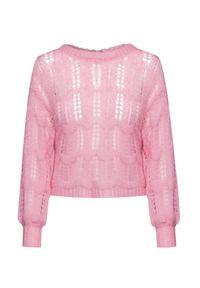 Różowy sweter LoveShackFancy krótki, z kontrastowym kołnierzykiem
