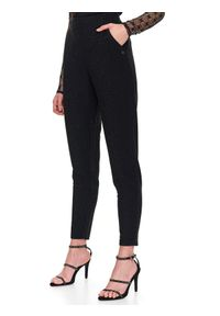 Czarne spodnie TOP SECRET na zimę, w kolorowe wzory, z podwyższonym stanem