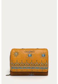 Żółty portfel Desigual z haftami
