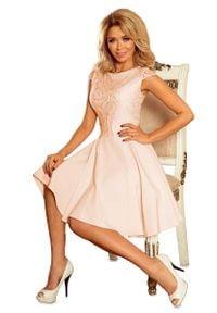 Numoco - Sukienka Elegancka Rozkloszowana z Koronką - Brzoskwiniowa. Kolor: pomarańczowy. Materiał: koronka. Wzór: koronka. Styl: elegancki