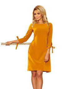 Żółta sukienka na wesele Numoco z kokardą