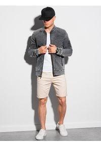 Ombre Clothing - Kurtka męska wiosenna jeansowa C240 - szara - XXL. Typ kołnierza: kołnierzyk stójkowy. Kolor: szary. Materiał: jeans. Wzór: aplikacja, moro. Sezon: wiosna. Styl: militarny