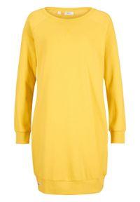 Sukienka dresowa z rękawami raglanowymi bonprix żółty tulipan. Kolor: żółty. Materiał: dresówka. Długość rękawa: raglanowy rękaw. Wzór: prążki. Typ sukienki: tulipan