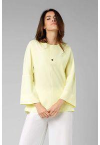Nommo - Żółta Elegancka Bluzka z Rozkloszowanym Rękawem 3/4. Kolor: żółty. Materiał: wiskoza, poliester. Styl: elegancki
