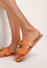 Renee - Pomarańczowe Klapki Beanol. Kolor: pomarańczowy