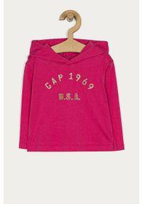Różowa bluzka z długim rękawem GAP na co dzień, casualowa, długa, z nadrukiem