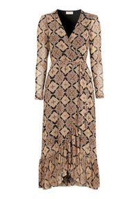Sukienka Freequent z falbankami, kopertowa, z długim rękawem