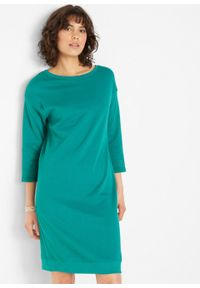 Sukienka dresowa z dekoltem w łódkę bonprix zielony sosnowy. Kolor: niebieski. Materiał: dresówka