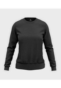 MegaKoszulki - Damska bluza taliowana (bez nadruku, gładka) - grafitowa. Kolor: szary. Wzór: gładki