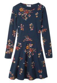 Sukienka dziewczęca z długim rękawem bonprix ciemnoniebieski. Kolor: niebieski. Długość rękawa: długi rękaw