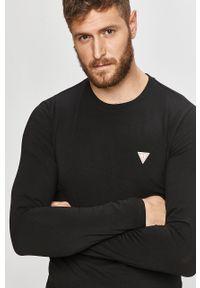 Czarna koszulka z długim rękawem Guess Jeans casualowa, na co dzień