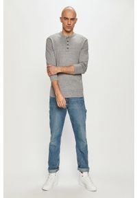 Szara koszulka z długim rękawem PRODUKT by Jack & Jones na co dzień, melanż, casualowa