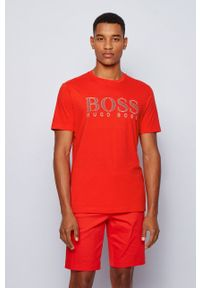 BOSS - Boss - T-shirt Boss Athleisure. Okazja: na co dzień. Kolor: czerwony. Wzór: nadruk. Styl: casual