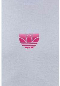 adidas Originals - T-shirt bawełniany. Kolor: niebieski. Materiał: bawełna. Wzór: nadruk