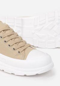 Born2be - Ciemnobeżowe Trampki Epona. Nosek buta: okrągły. Kolor: beżowy. Materiał: materiał, guma. Szerokość cholewki: normalna. Obcas: na obcasie. Styl: klasyczny, elegancki #5