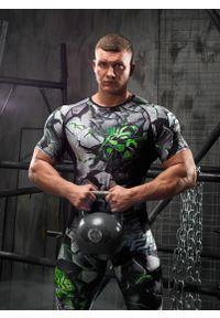 Zielona koszulka sportowa FJ! z krótkim rękawem, w kolorowe wzory, na fitness i siłownię