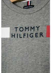 Szara koszulka z długim rękawem TOMMY HILFIGER casualowa, na co dzień