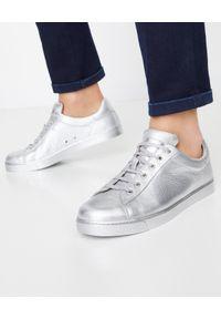 GIANVITO ROSSI - Metaliczne tenisówki Low Top. Okazja: na co dzień. Nosek buta: okrągły. Kolor: srebrny. Styl: casual
