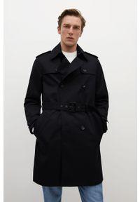 Czarny płaszcz Mango Man gładki, na co dzień