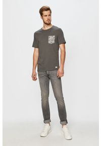 Szary t-shirt PRODUKT by Jack & Jones na co dzień, z okrągłym kołnierzem, z nadrukiem #5