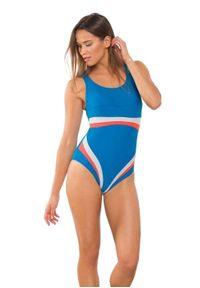 Rontil - Strój basenowy RONTIL 2431. Kolor: niebieski, wielokolorowy, szary. Materiał: lycra, poliamid, materiał, elastan